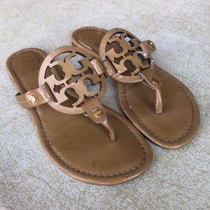 Tory Burch Miller Sandals Patent Sand Light Brown